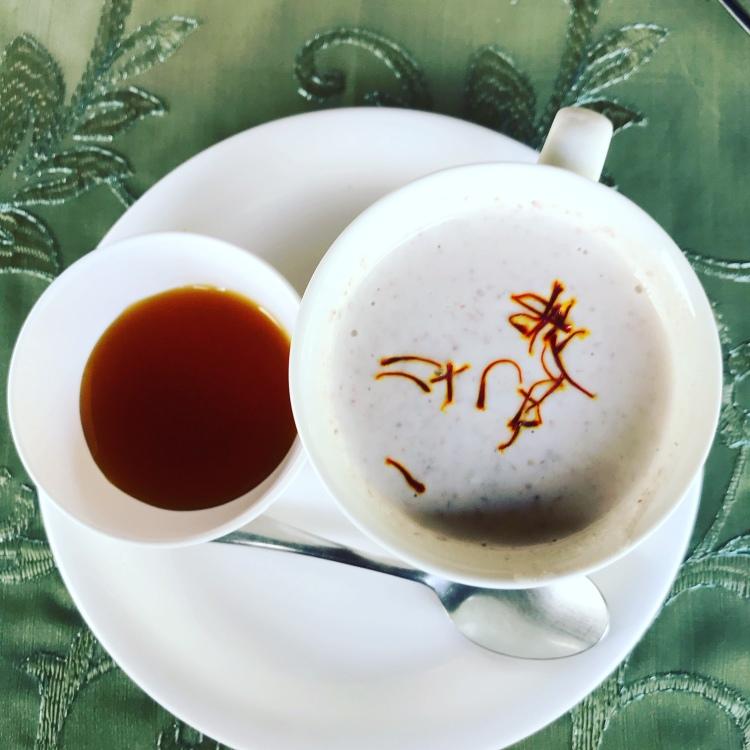 Indian almond tea with honey