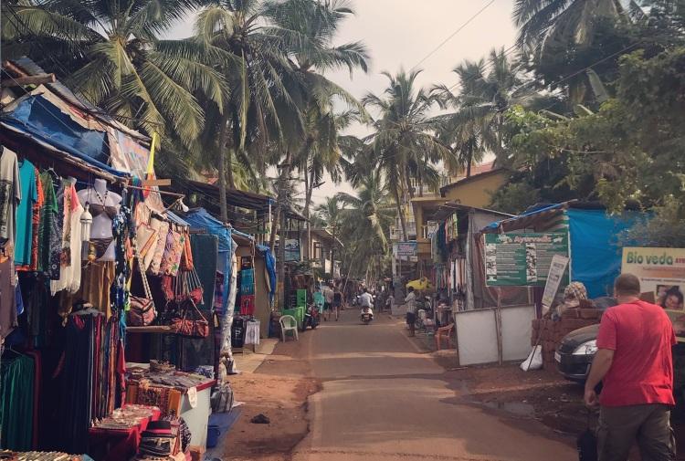 Main dirt road through Agonda in Goa