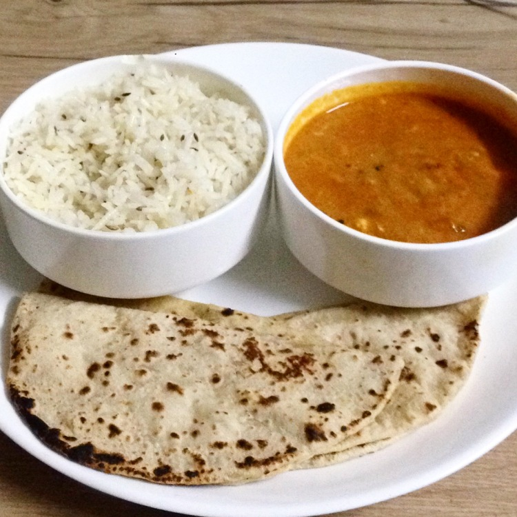 Butter paneer masala with cumin rice and chappati