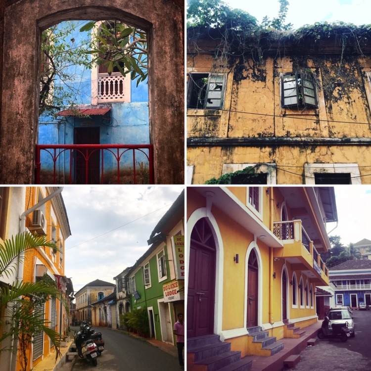 Colourful houses in the streets of Panjim, Goa