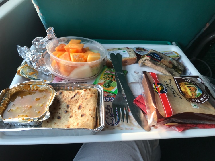 Breakfast on a train in India