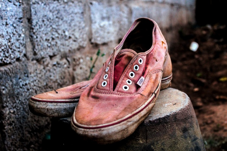 Dirty old pair of Vanns canvas shoes