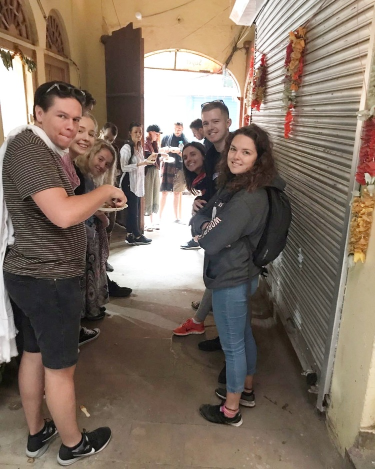 Group on a food tour in Delhi