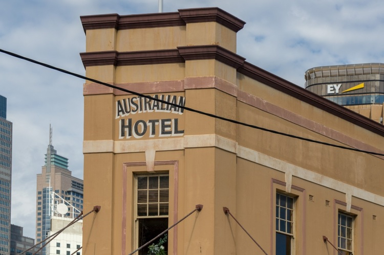 An old building with Australian Hotel sign