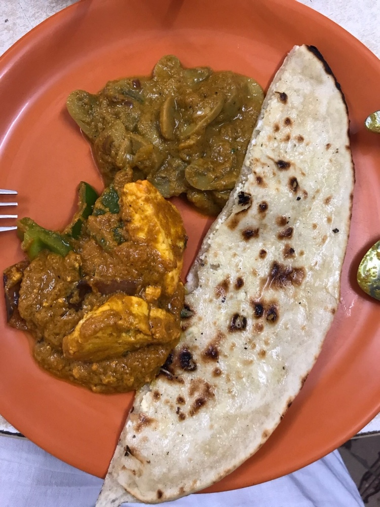 Indian chicken curry with tandoor roti