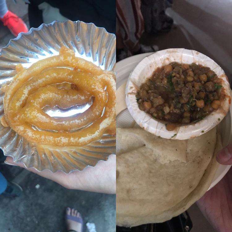 Indian jalebi and chana masala