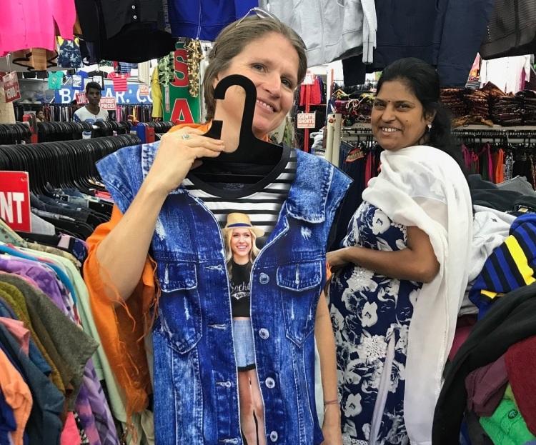 Kristin Cavallari denim print t-shirt