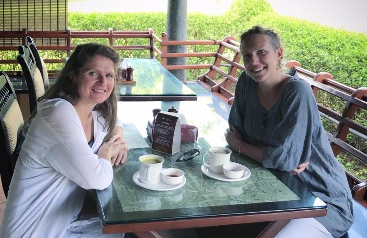 Having tea at the Art of Living Ashram in Bangalore, India