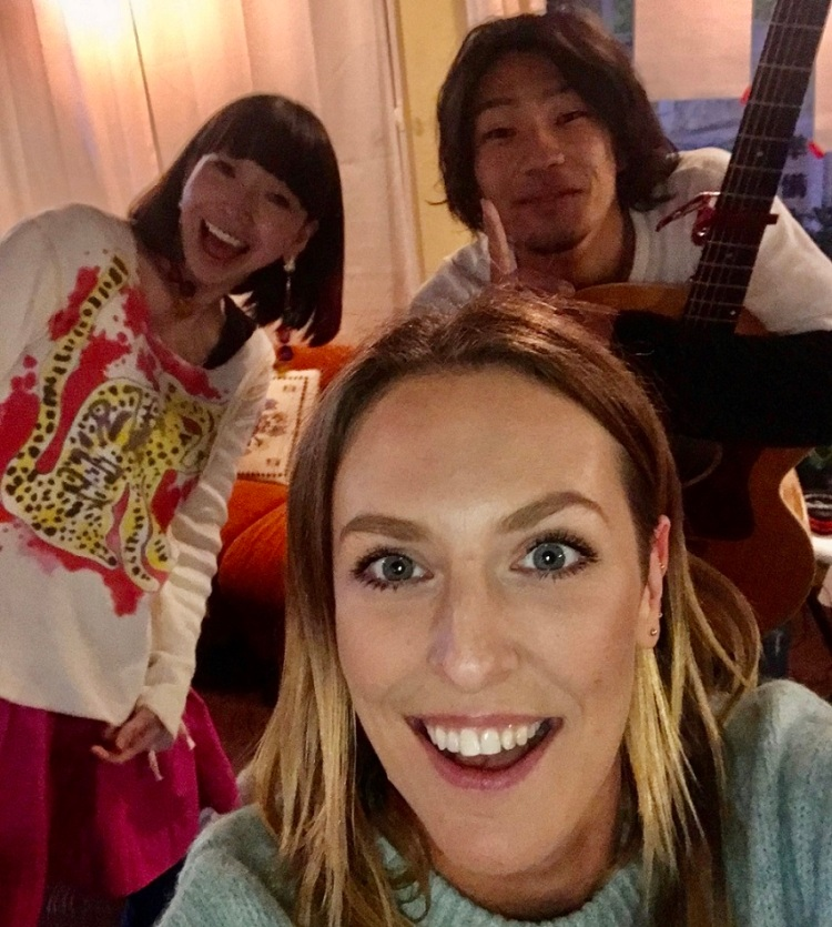 Selfie with two local Japanese musicians