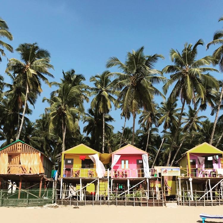 Colourful beach huts in Palolem Goa