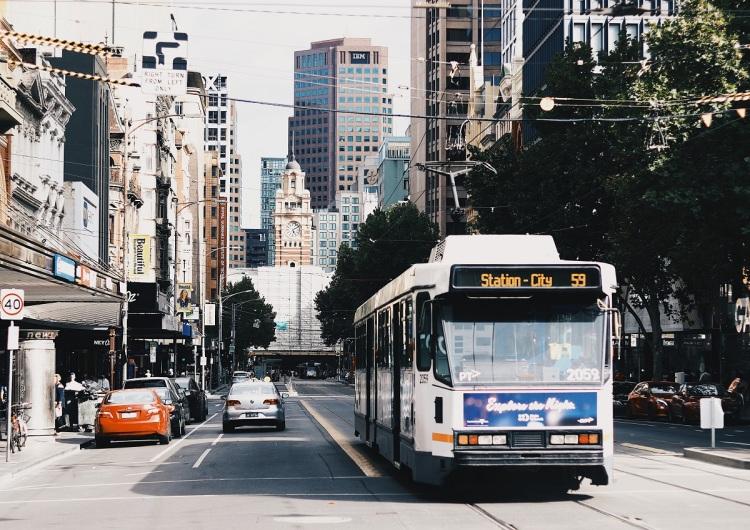 Australian public tram in city centre