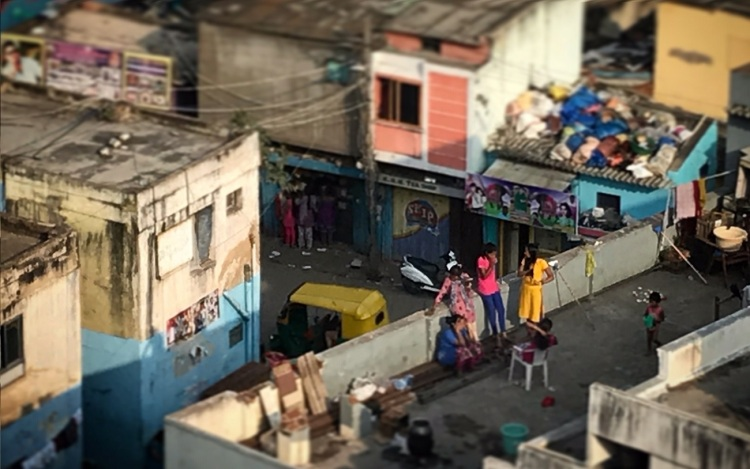 People talking on rooftops in Bangalore
