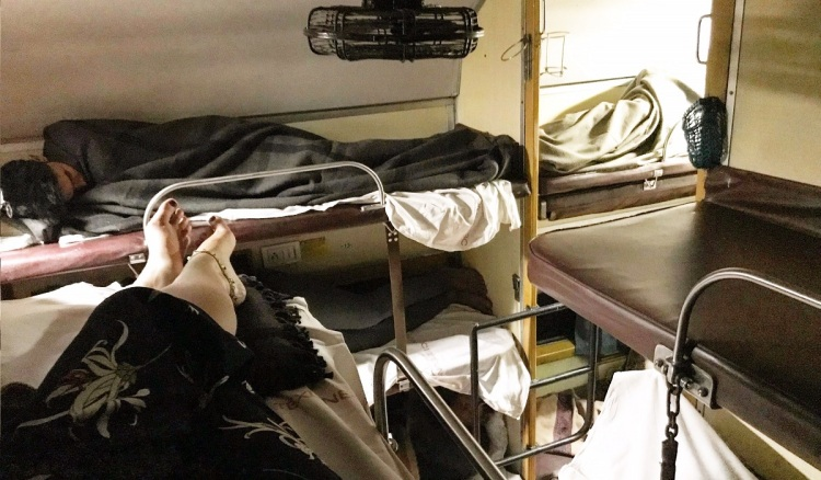 View from the top bunk on a sleeper train in India
