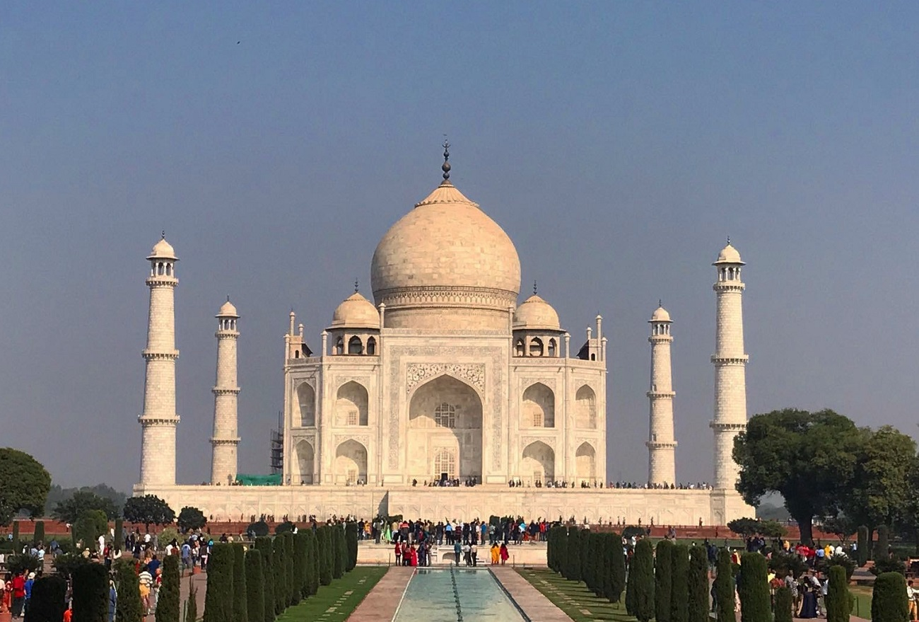 View of the Taj Mahal and gardens