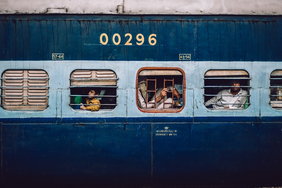People looking out of Indian train windows